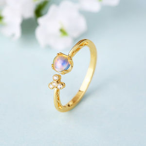 4mm Round Opal Engagement Ring Unique Silver Ring